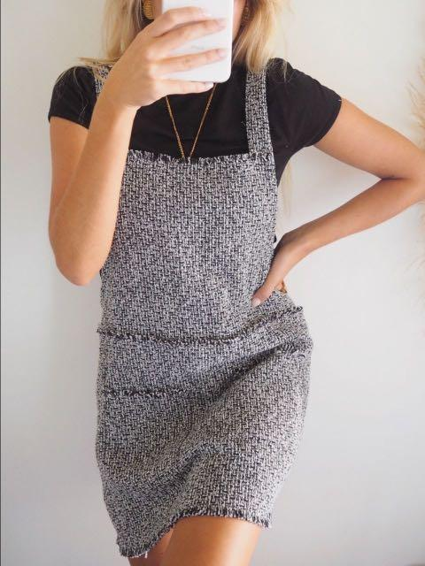 AFTERPAY AVAILABLE - Tweed Pinafore Dress - Sizes XS - L