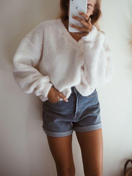 AFTERPAY AVAILABLE! Teddy Jumper in White Sizes XS - L