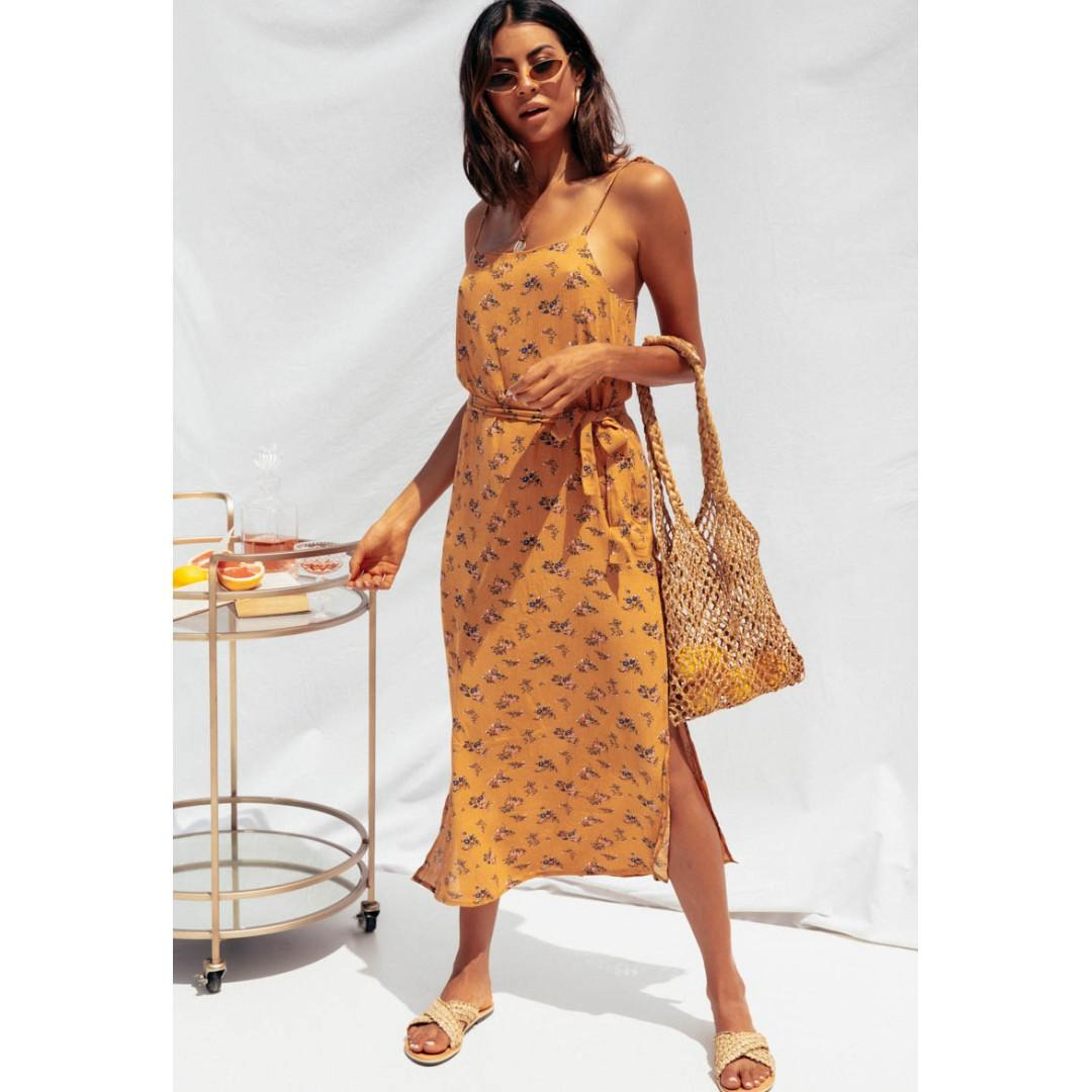 AFTERPAY AVAILALBE - SUNDAYS FLORAL MAXI DRESS WITH TIE 10 12 & 14