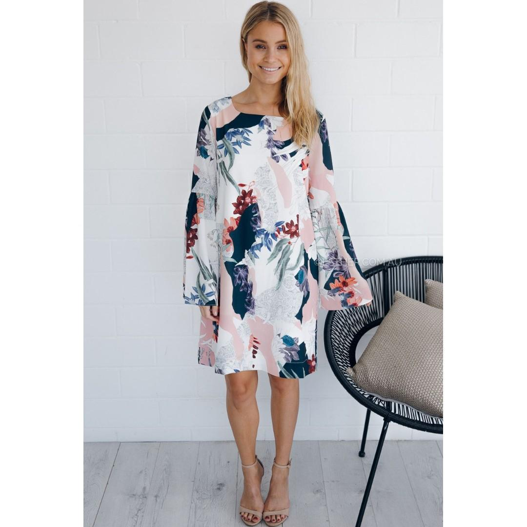 AFTERPAY AVAILBLE - COOPER ST FLORAL LONGSLEEVE LOOSE MIDI DRESS SMALL 6/8