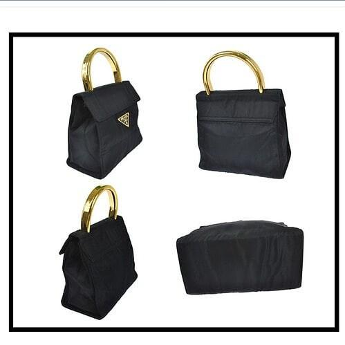 AUTHENTIC PRADA KELLY BAG - BLACK NYLON CANVAS - RARE VINTAGE BIG PRADA NAMEPLATE LOGO DESIGN - GOLD HARDWARE - CLEAN INTERIOR - (BOUGHT AROUND RM 6000+)