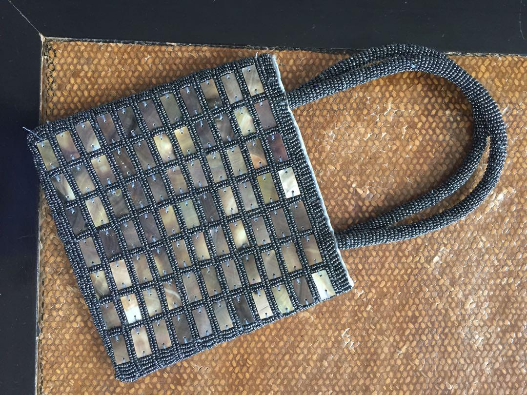 Beaded and mother of pearl handbag