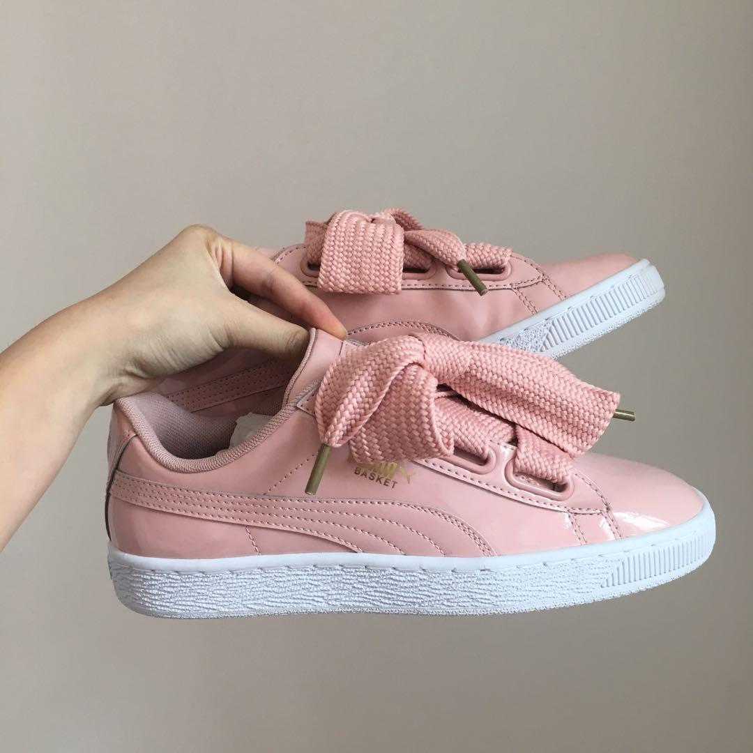 free shipping 74bd5 a8a36 BNIB Puma Basket Heart Patent peach beige, Women's Fashion ...