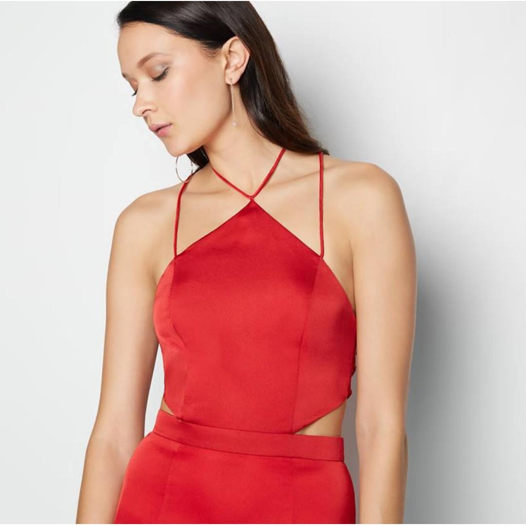 BRAND NEW WITH TAGS FAME & PARTNERS RED PILA DRESS - SIZE 10 AU (RRP $299)