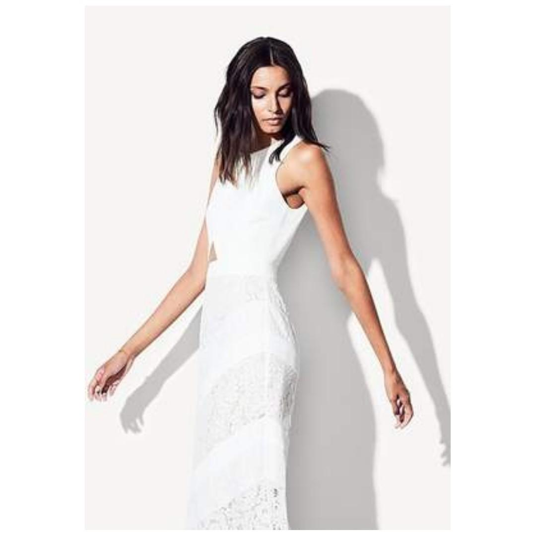 BRAND NEW WITH TAGS FAME & PARTNERS WHITE SPRING DRESS - SIZE 8 AU (RRP $429)