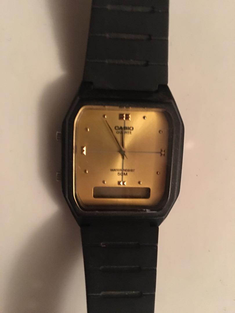 CASIO black/gold watch