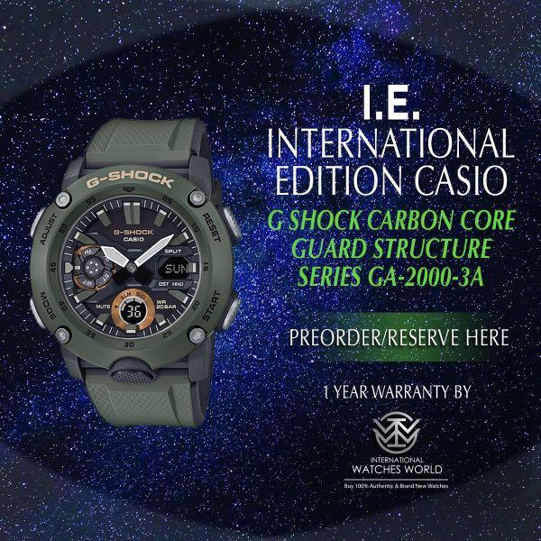 CASIO INTERNARIONAL EDITION G SHOCK CARBON CORE STRUCTURE MILITARY COLOR OLIVE GREEN COLOR GA-2000-3A