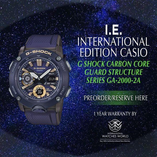 CASIO INTERNATIONAL EDITION G SHOCK CARBON CORE STRUCTURE MILITARY COLOR GA-2000-2A NAVY COLOR OF BLUE AND GOLD