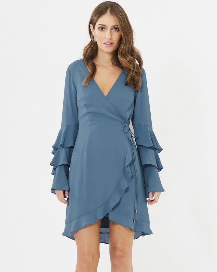 Chancery The Label Cora Blue Wrap Frill Dress - Postage Included