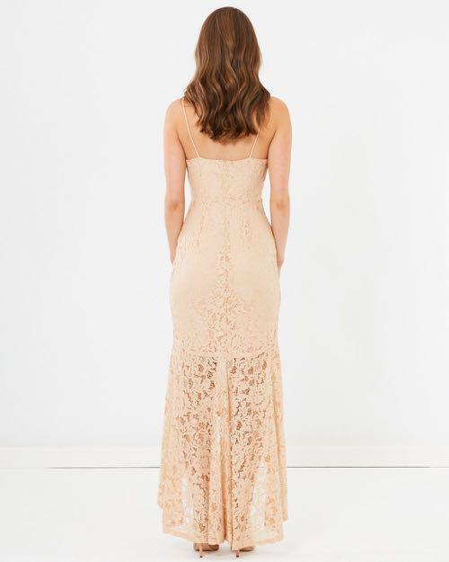 Chancery The Label Florence Nude Lace Maxi Dress - Postage Included