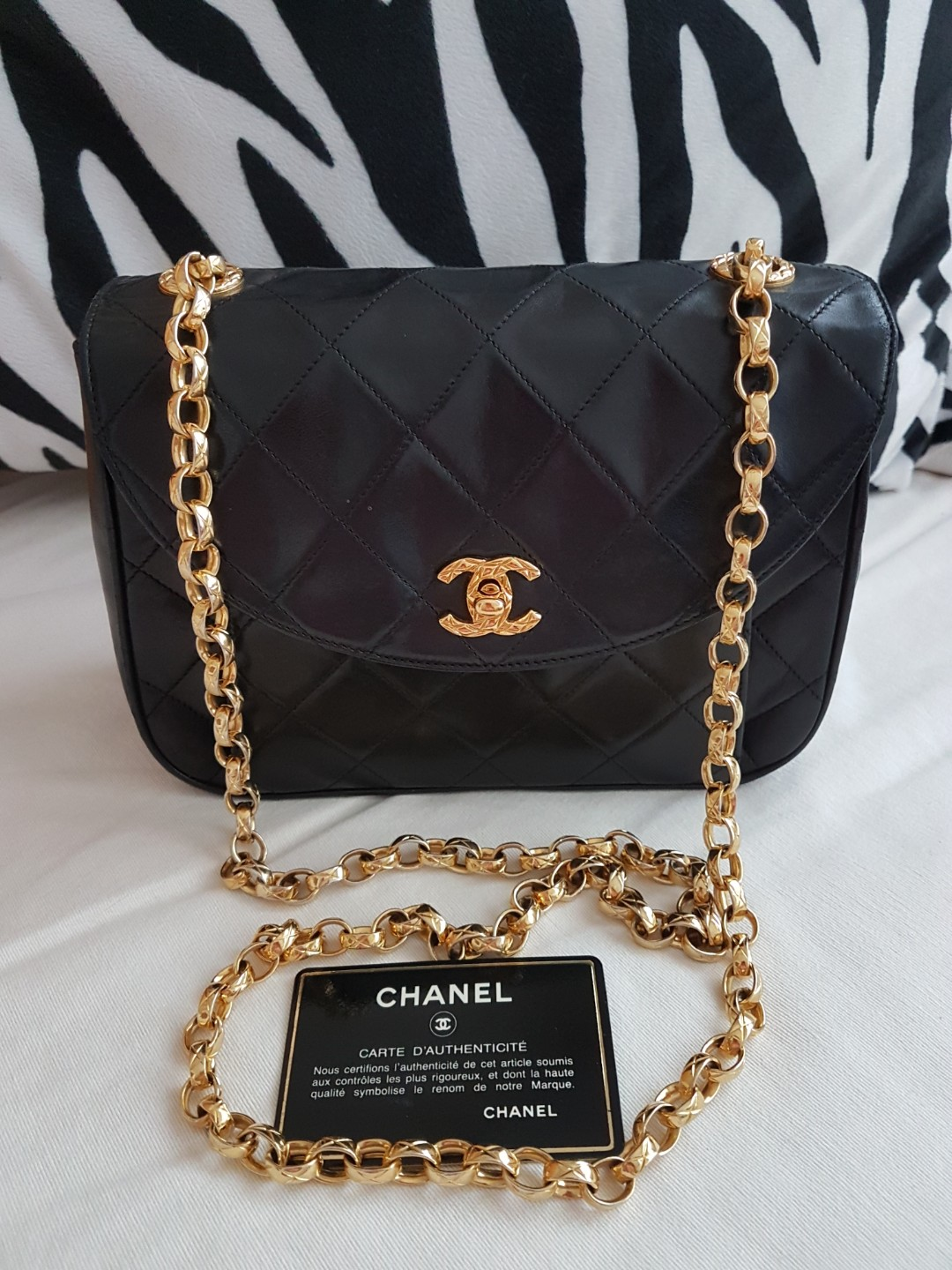 6bbe1bcc3d55 Pending) Chanel Vintage Flap with Bijoux 24K Gold Plated Chain ...