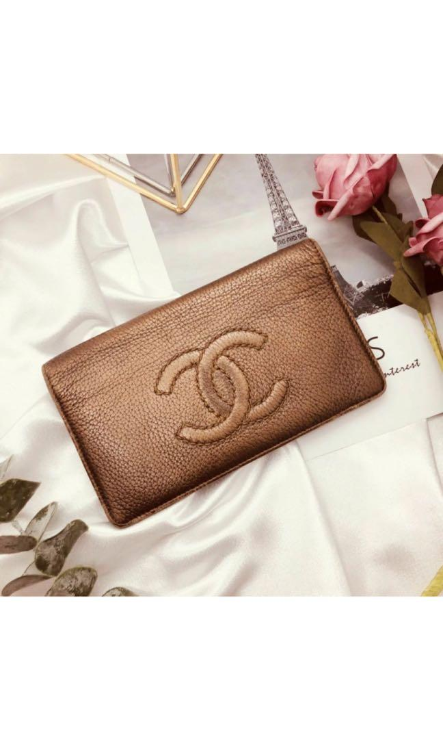 CHANEL WALLET AUTHENTIC VINTAGE BROWN CALFSKIN LEATHER CHAIN CC LOGO ITALY