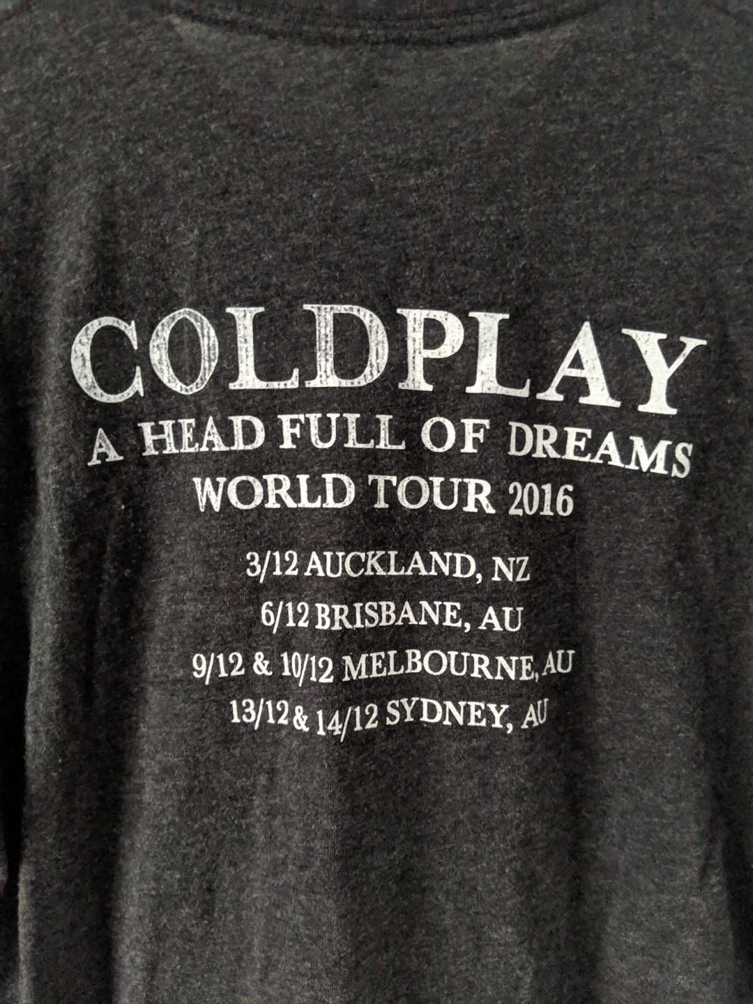 """Coldplay """"Head Full of Dreams"""" 2018 World Tour T-Shirt"""