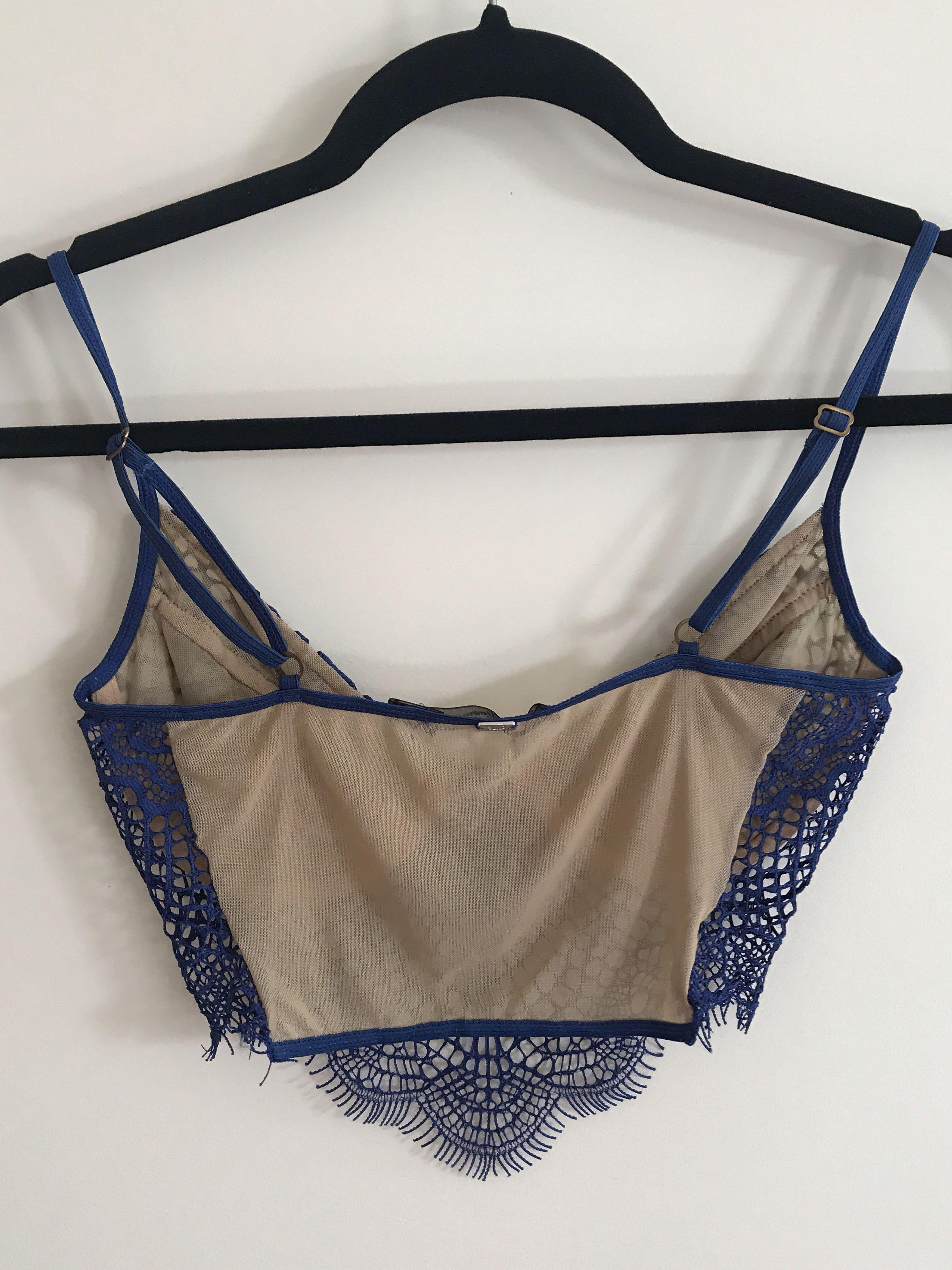For Love and Lemons Bat Your Lashes Bra - Blue Lace