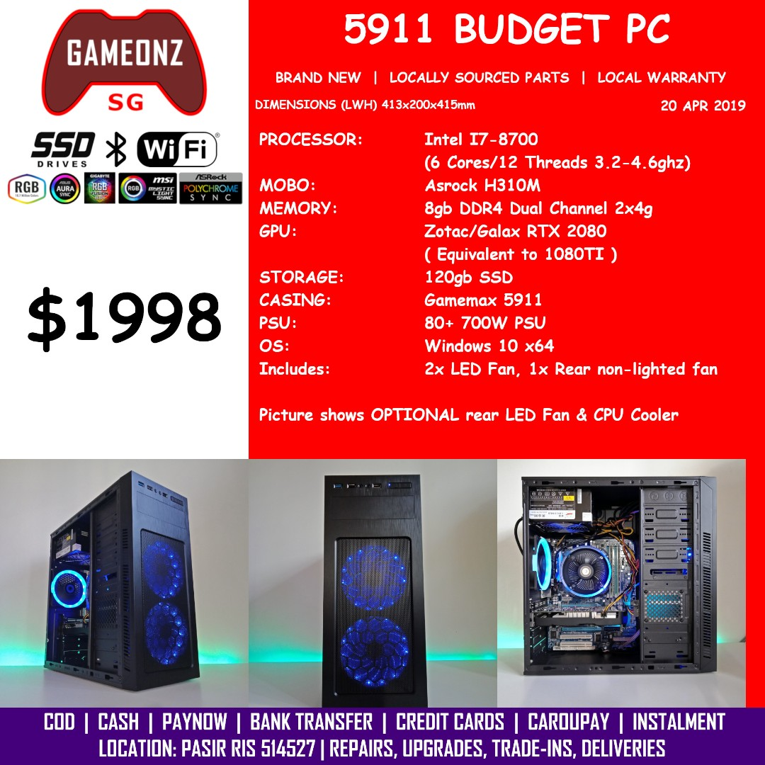 FREE DELIVERY BUDGET GAMING PC 5911 RTX 2080 Builds AMD Ryzen 7 2700 5 2600  Intel I5-9400F I7-8700 Nvidia RTX2080 BUDGET5911 +COMBO+