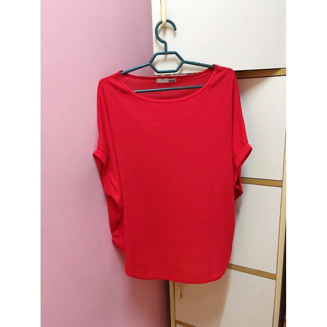 22be08443df1dc Free Shipping) Red Soft Short Sleeve Batwing Top / Red Loose Blouse ...