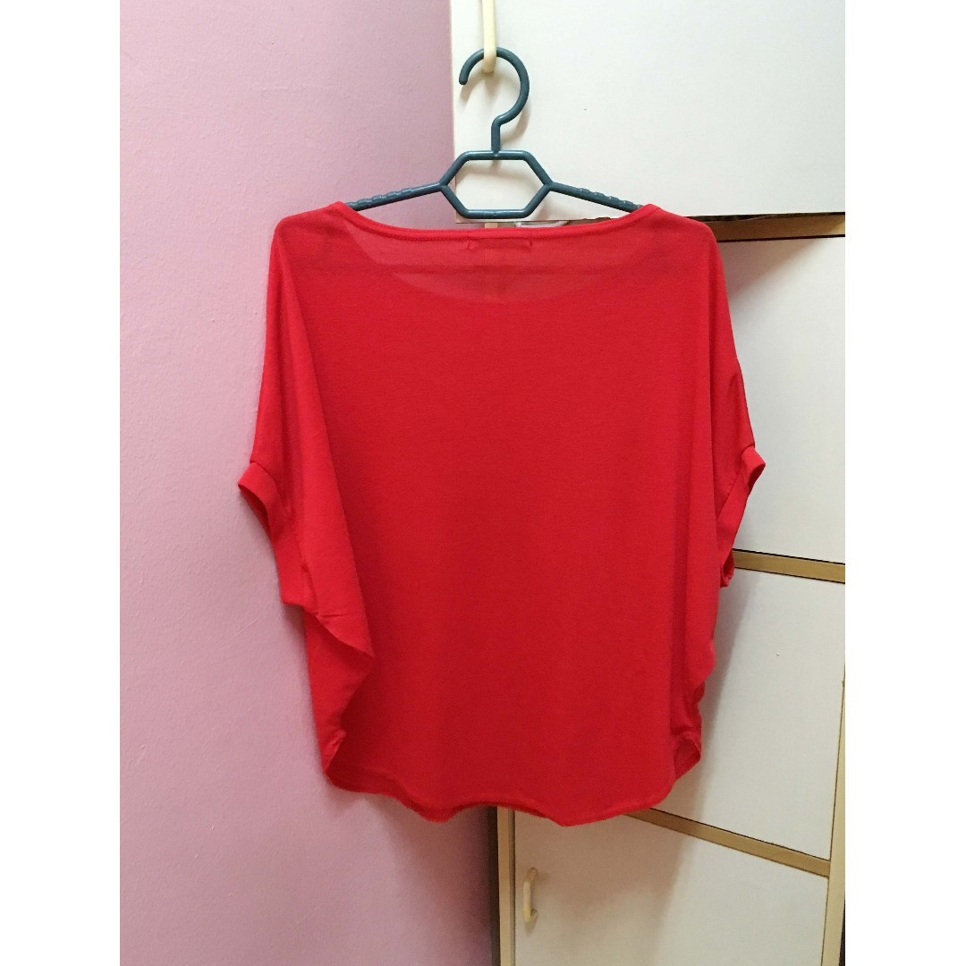 8329894d76 (Free Shipping) Red Soft Short Sleeve Batwing Top / Red Loose Blouse /  Leisure T-Shirt