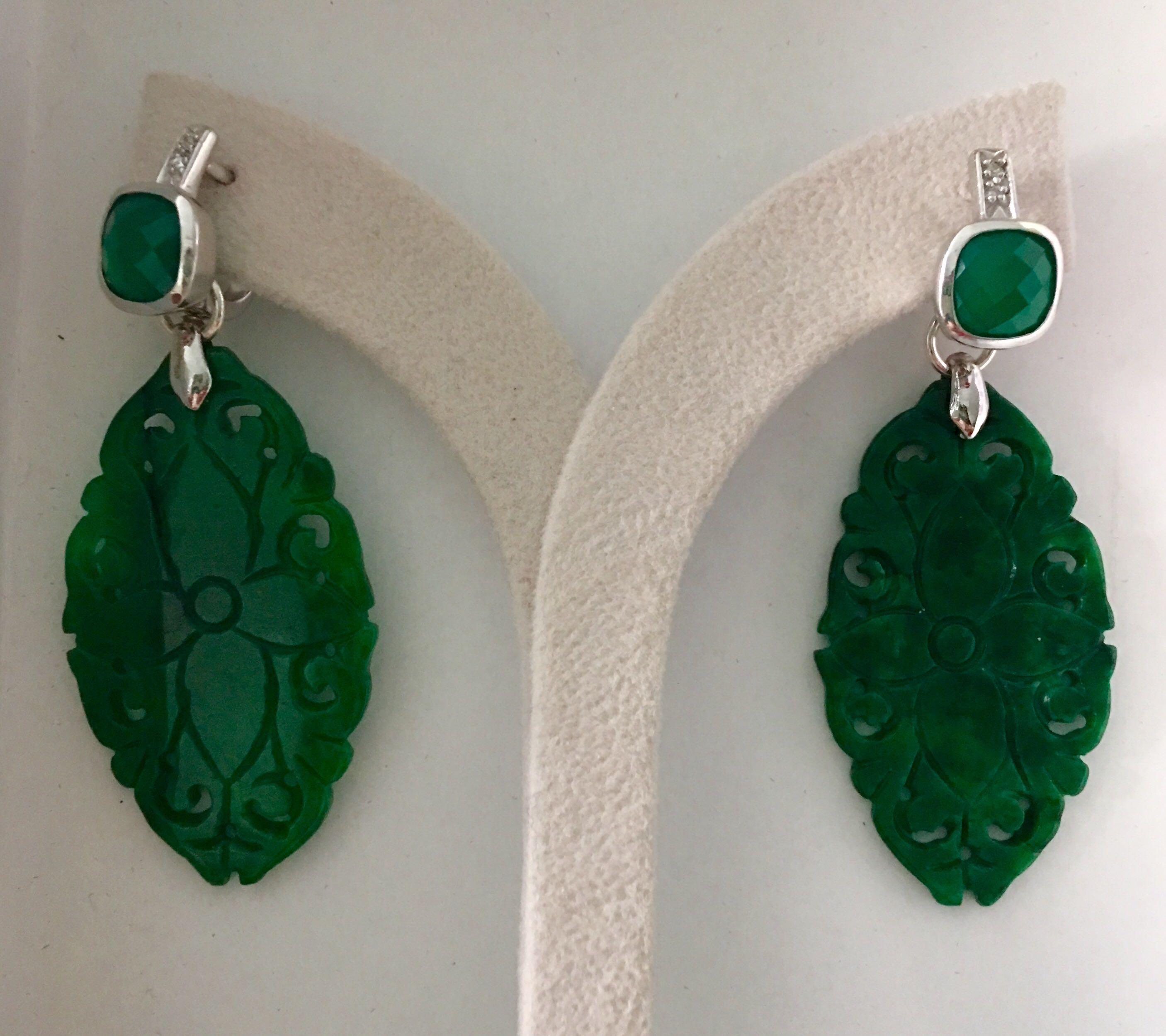 885a6f1ac Green aventurine with Burmese carved jade earrings, Luxury ...