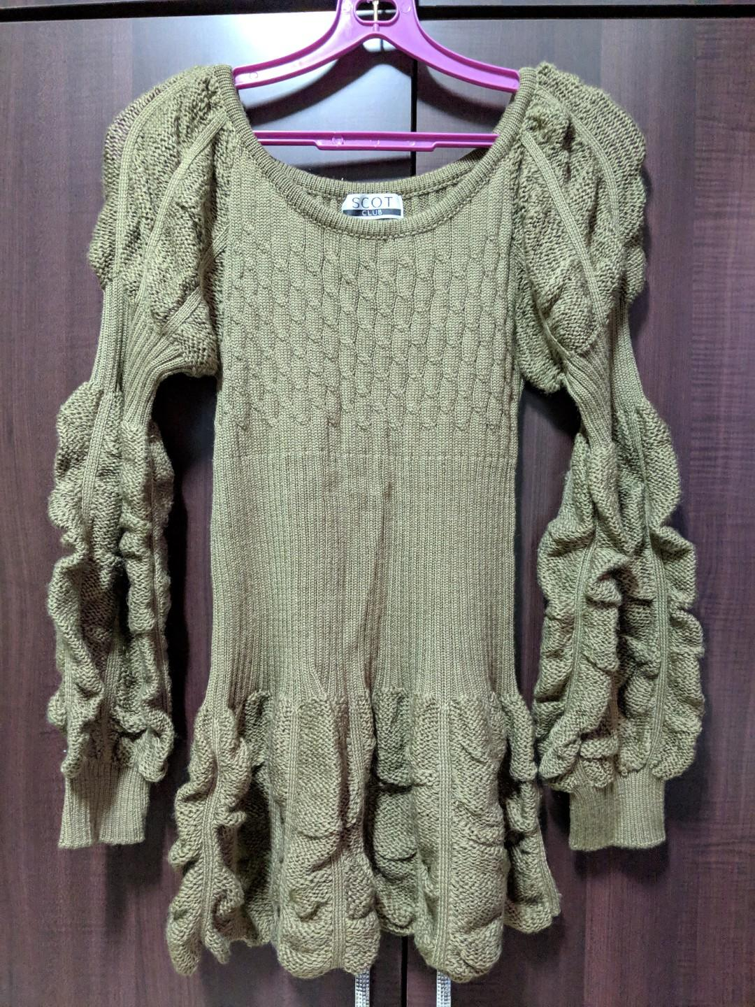 Khaki knitted puffy sleeves top