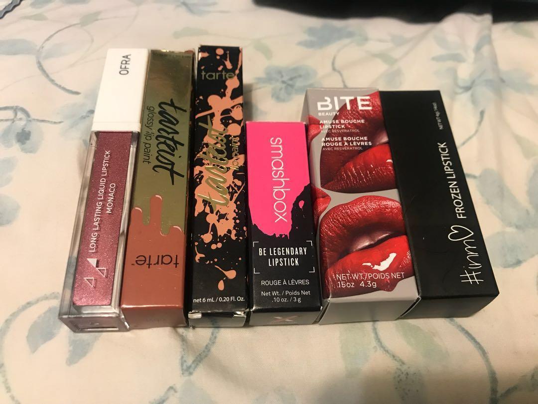 Lot of new full size lip products - tarte, ofra, bite, smashbox, #inmo