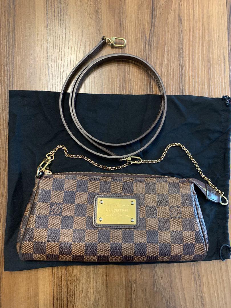 f9e156ed6a2 Louis Vuitton 100% Authentic Rare Eva Damier Ebene Clutch Wallet Crossbody  Bag DE LV