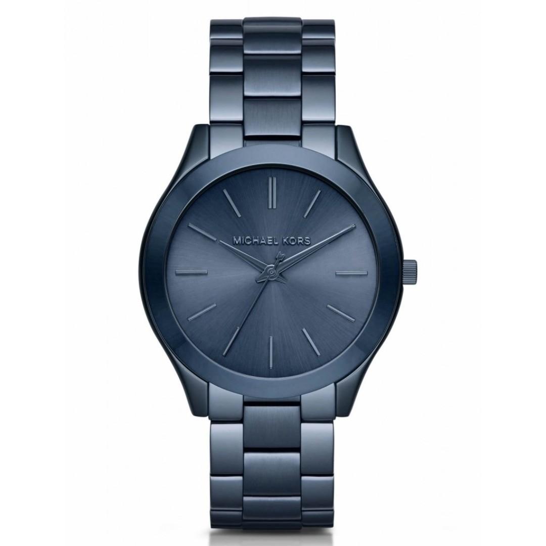 faf37c608989 Michael Kors Slim Runway Blue Dial Blue Ion-plated Ladies Watch ...