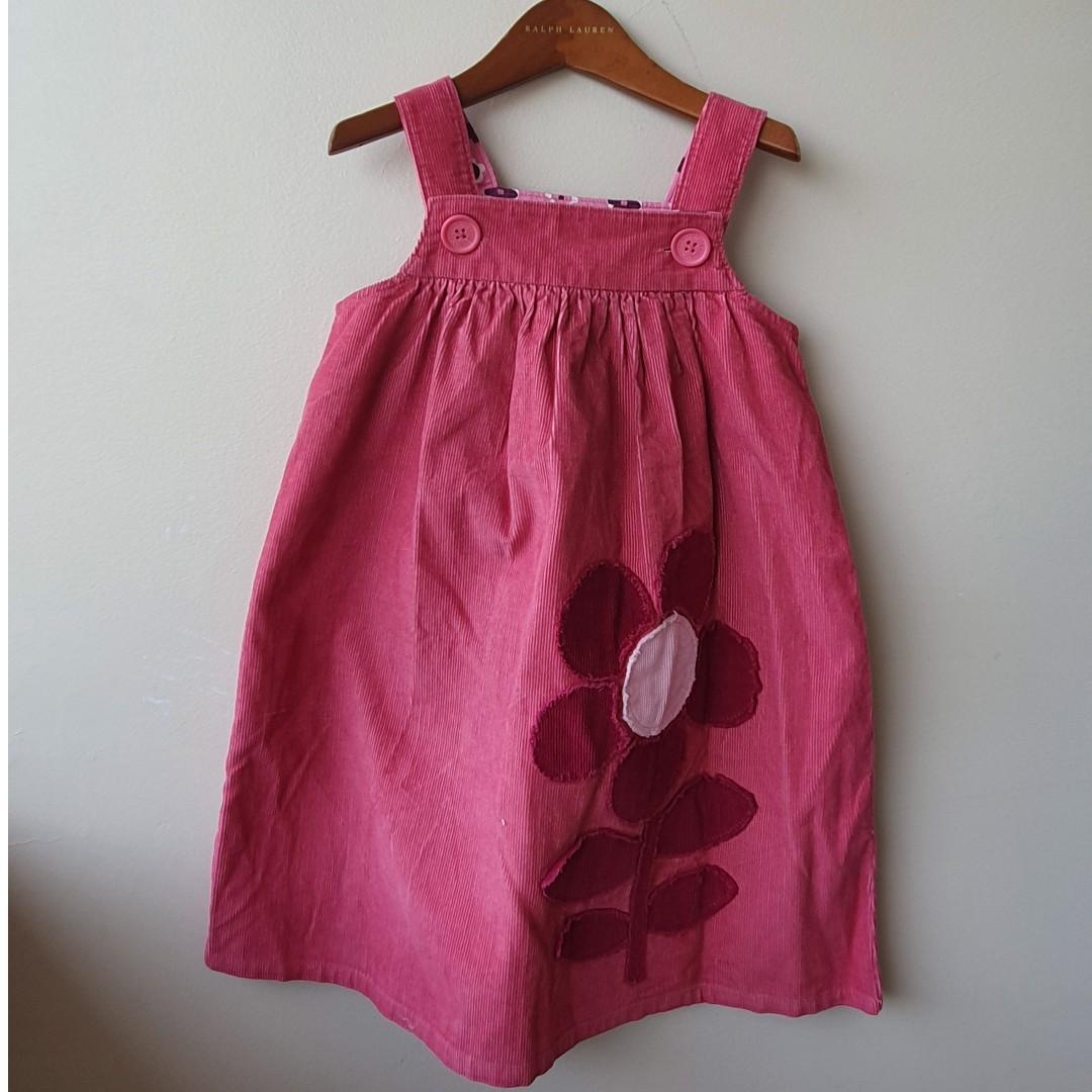 MINI BODEN Girls Corduroy Winter Pinafore Dress Sz 5/6 EUC
