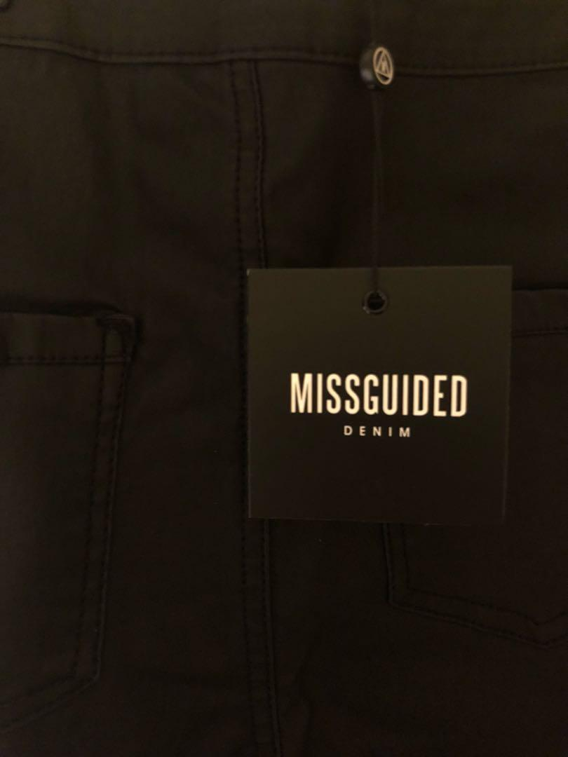 MISSGUIDED | High Waisted Coated Skinny Jeans (Black)