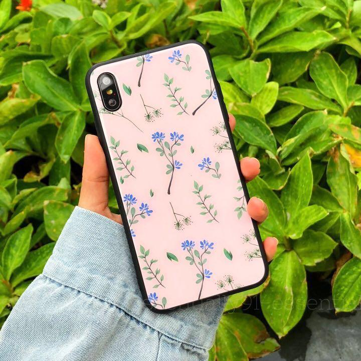 Pink Flora Tempered Glass Phone Case