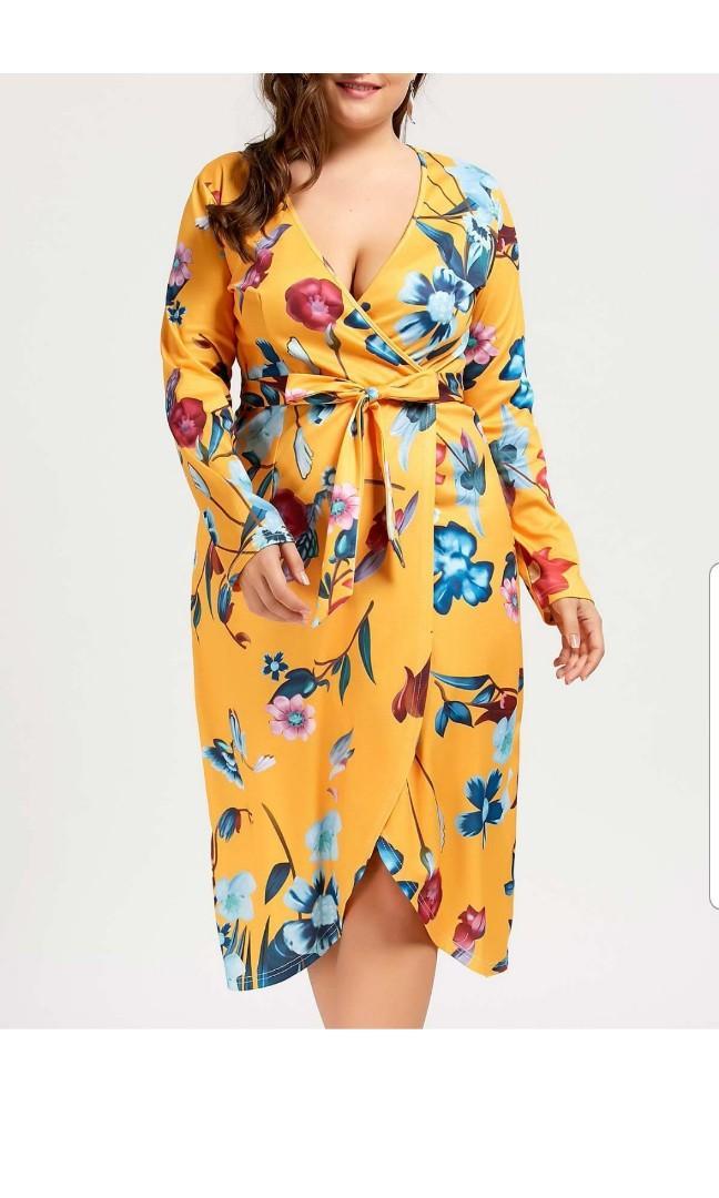 PLUS size yellow garden floral dress