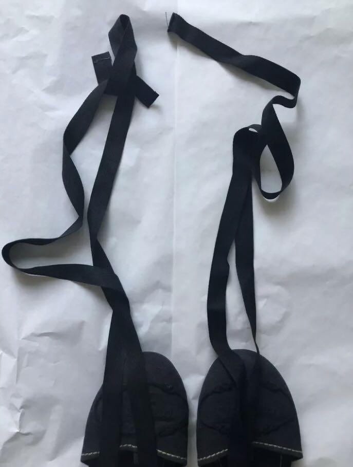 Prada deep blue ribbon-tie flats (Size 37)