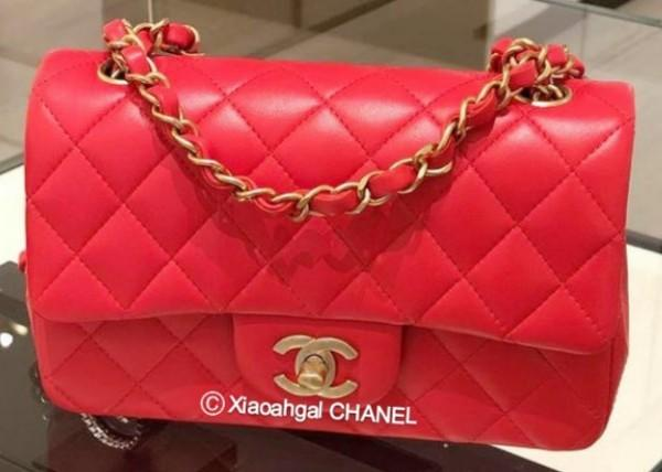 ✔RESERVED✔ QYOP Chanel authentic brand new limited edition matt gold hardware red mini rectangular quilted bag