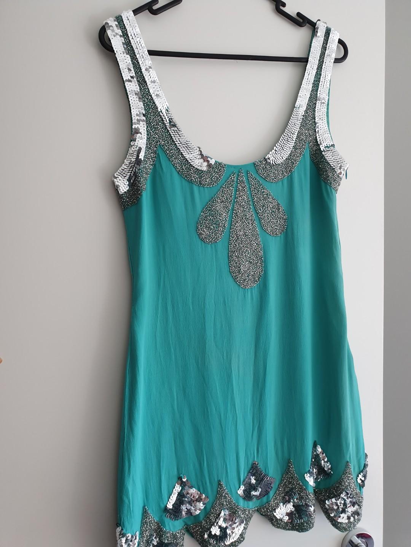 Rachel Gilbert mint green flapper-style minidress Size 1