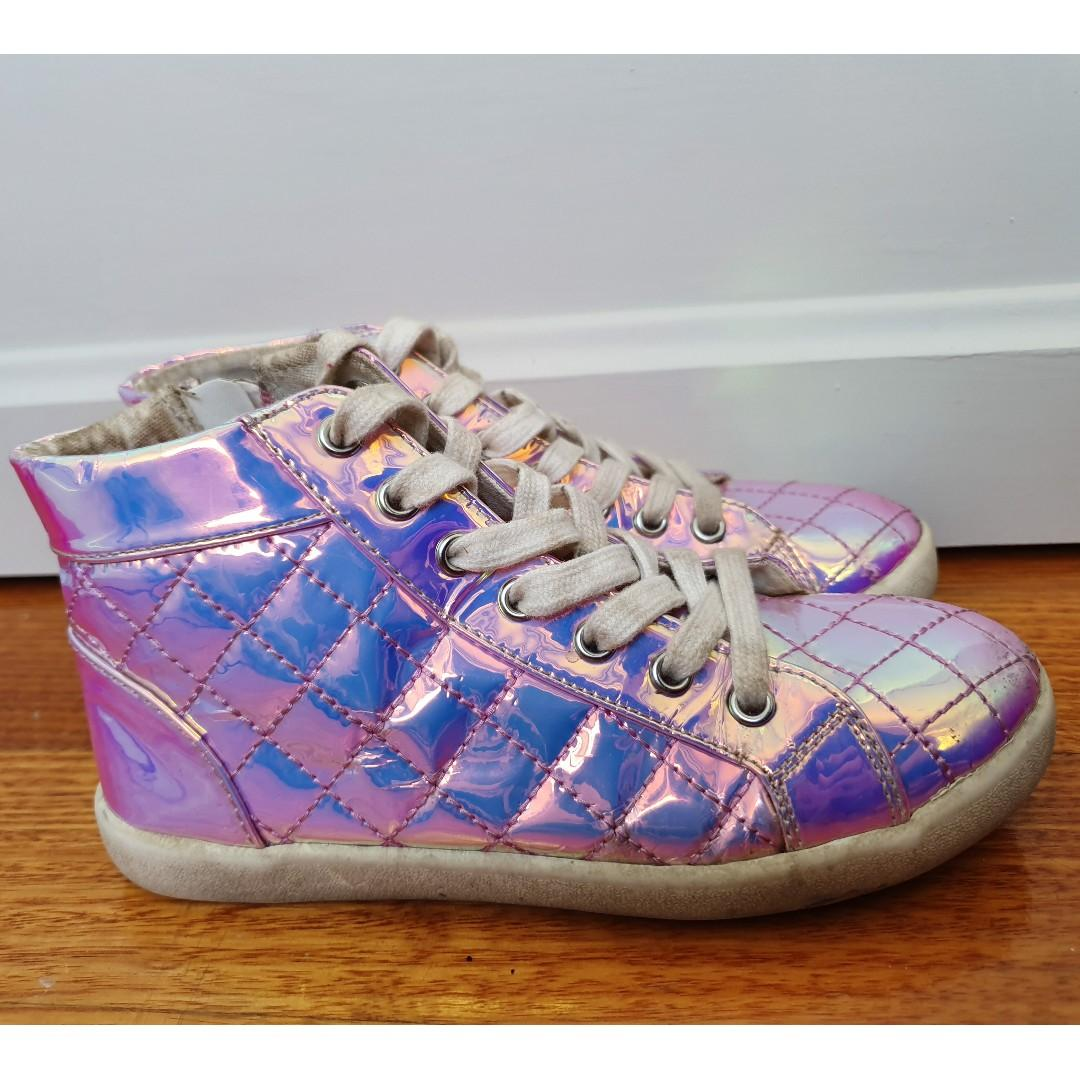 SEED HERITAGE Girls Holographic Hi-Top Sneakers Sz 32 Aust 2 Shoes