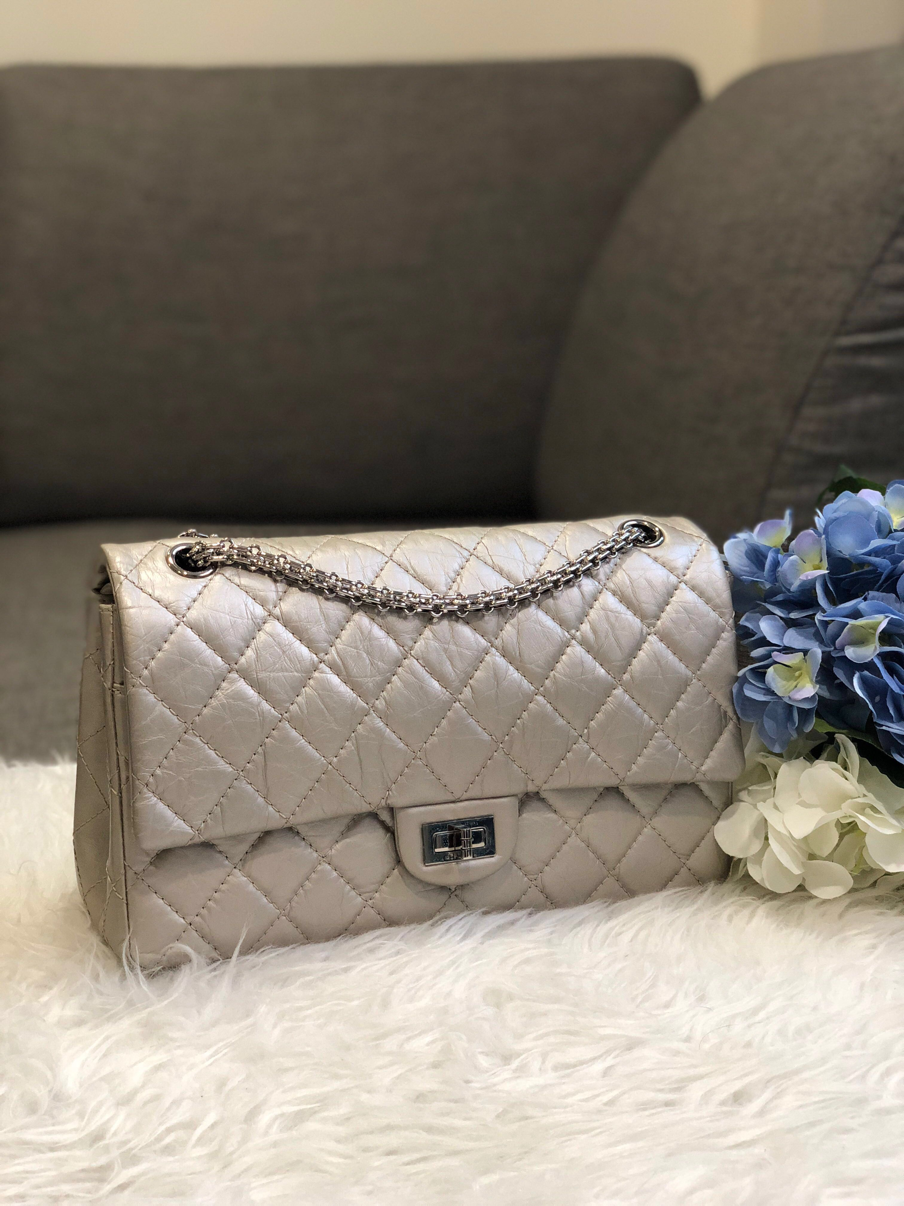 86773611a0448c Chanel 2.55 Reissue 226 Flap in Silver Metallic Distressed Calfskin SHW,  Luxury, Bags & Wallets, Handbags on Carousell