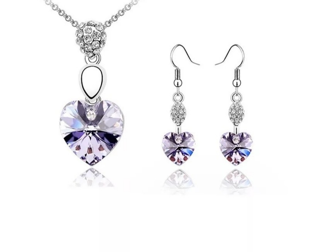29302f4bc Swarovski elements crystal heart necklace earring set #endgameyourexcess,  Women's Fashion, Jewellery, Necklaces on Carousell