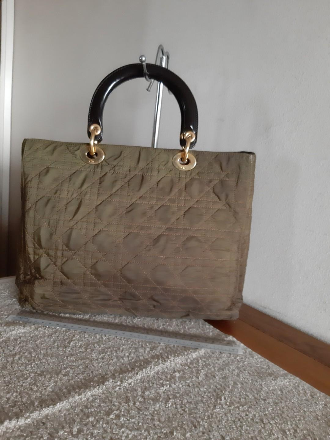 SWIPE RIGHT - AUTHENTIC DIOR, LARGE LADY DIOR IN OLIVE GREEN - NYLON CANVAS - CLEAN INTERIOR - (LADY DIOR BAGS NOW RETAIL OVER RM 17,000+) -