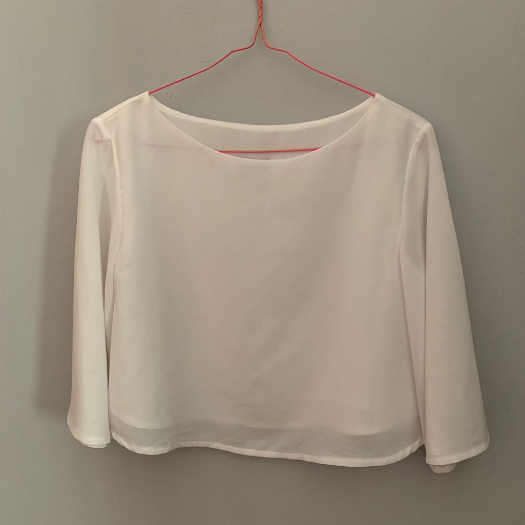 2ae1e619 TEM White Chiffon Crop Top, Women's Fashion, Clothes, Tops on Carousell