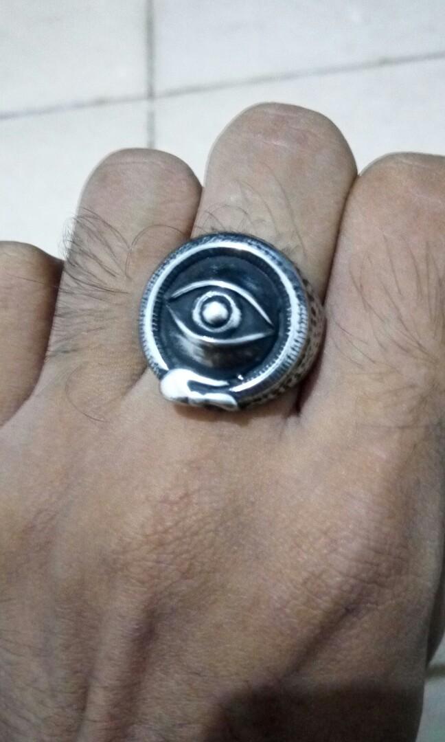Titanium ring eye of serpent