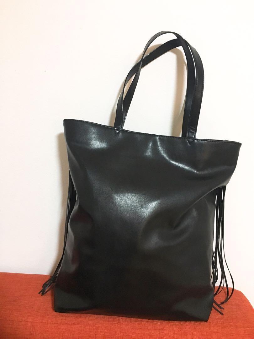 Victoria's Secret Limited Edition Black Flirty Fringe tote bag