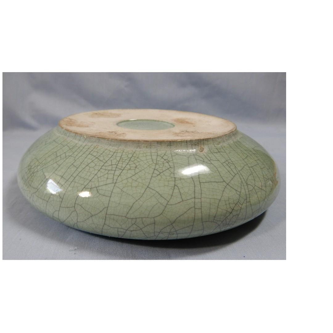 Vintage ceramic bonsai bulb flower pot crackle glaze retired circa 1960s