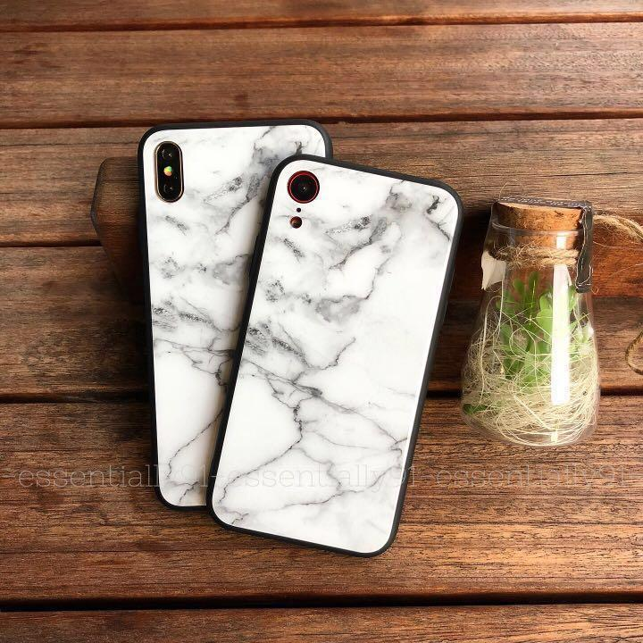 White Marble Tempered Glass iPhone Case