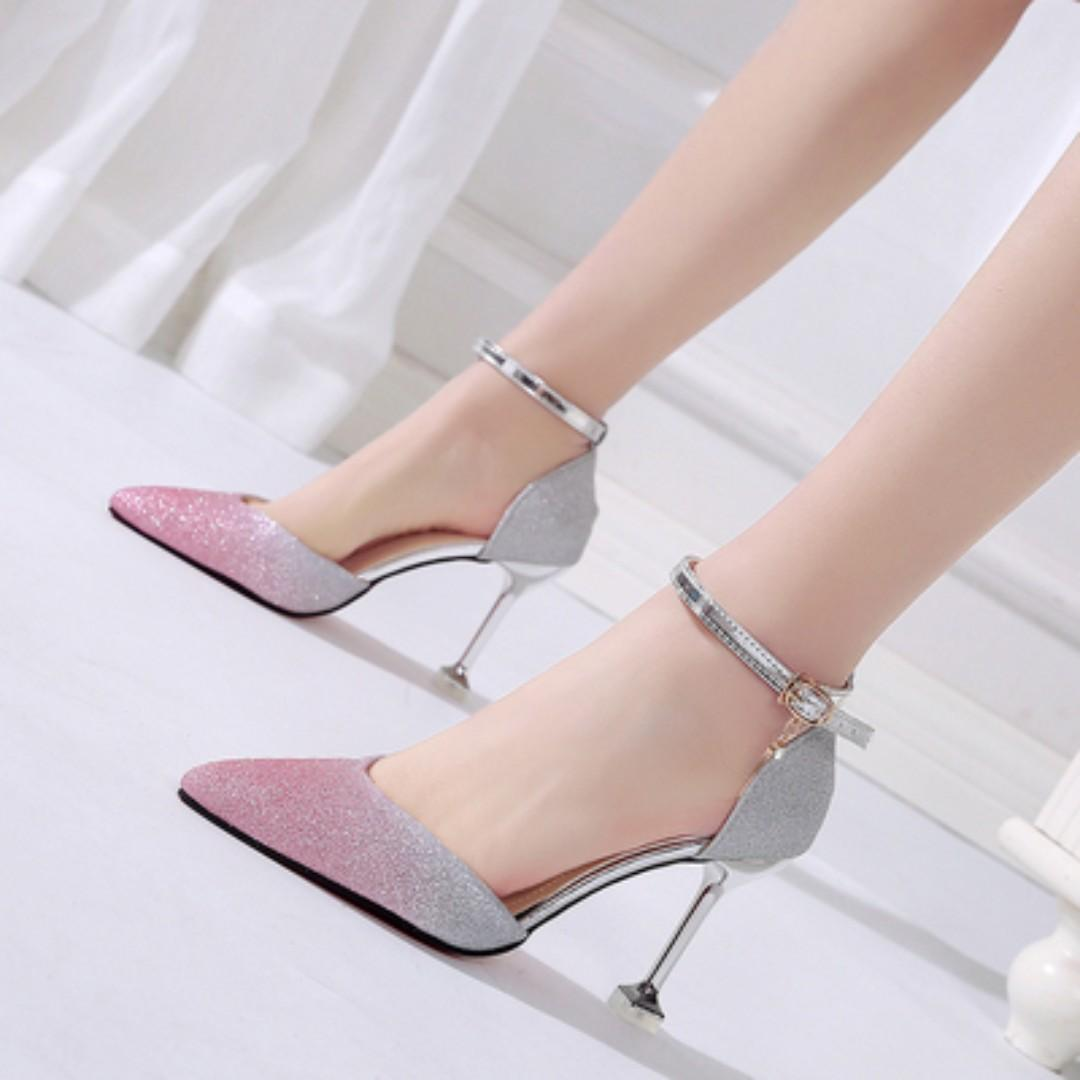Women Korean Trend Elegant Sequins Pointed High Heels Wedding Stilleto [Black/Gold/Gray/Pink/Purple/Silver]