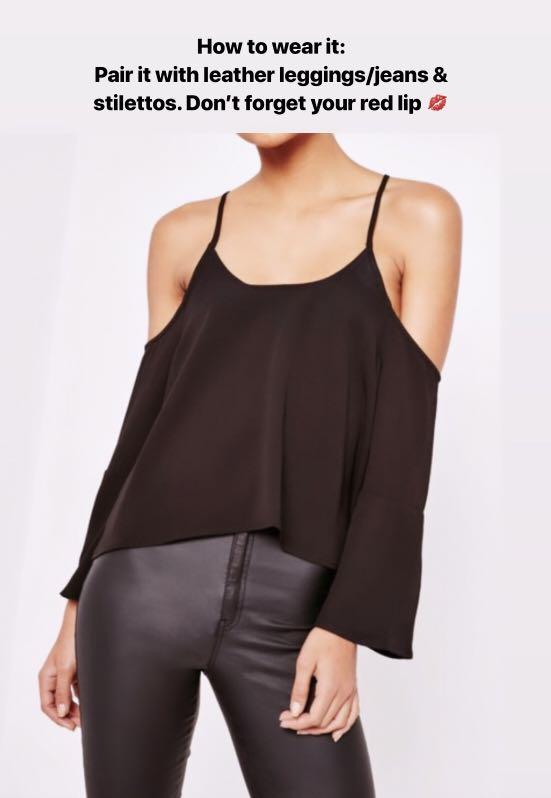 ZALORA Cold Shoulder Flared Sleeves Top with Choker Neckline