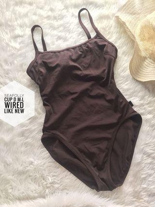 Brown one piece swimsuit