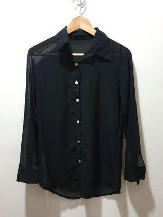 🚚 Black chiffon shirt
