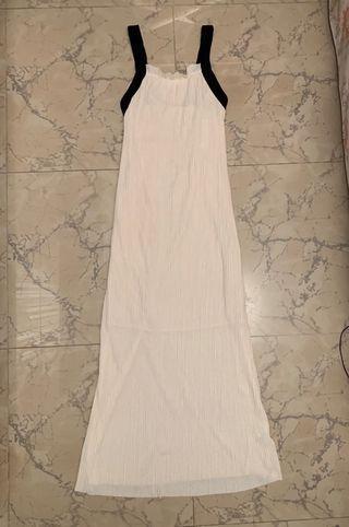 Cream pleated sleeveless vest dress 米色百褶連身吊帶裙