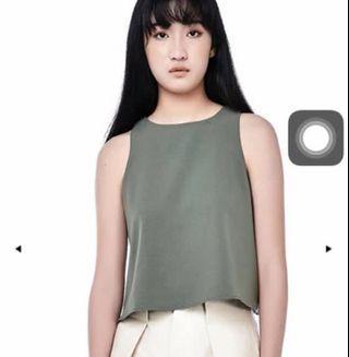 TEM Moss Green Prischa Crop Top Size XS