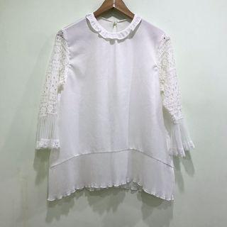 🉐️正韓白色雪紡蕾絲造型上衣