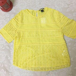 🚚 三折出清 全新清倉H&M 100%棉 黃色鏤空/透視短袖上衣